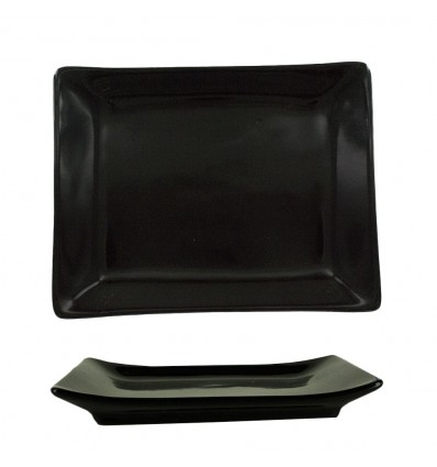 Assiette Rectangle Noir Porcelaine 20.5 cm